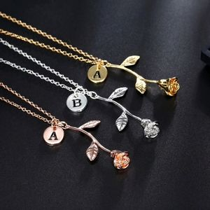 Jewelry - Initial Charm Beauty & Beast Rose Gold Necklace